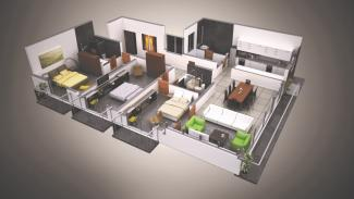 Type B 3D Render: 3 Bedrooms, 164.8 square metres / 1,774 square feet