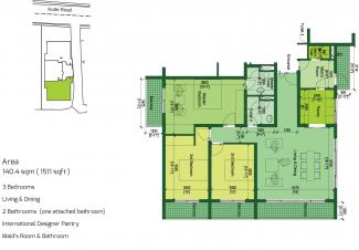 Type B Floor Plan: 3 Bedrooms, 140.4 square metres / 1,511 square feet