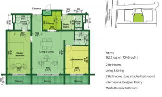 Type C Floor Plan: 2 Bedrooms, 92.7 square metres / 1,046 square feet
