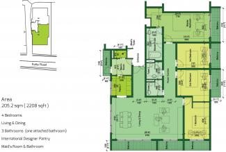 Type D Floor Plan: 4 Bedrooms, 205.2 square metres / 2,208 square feet