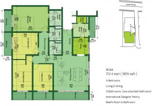 Type E Floor Plan: 4 Bedrooms, 172.4 square metres / 1,855 square feet