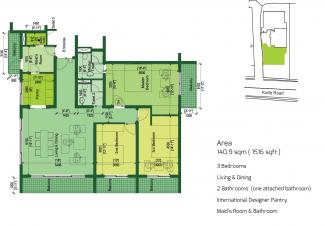 Type A Floor Plan: 3 Bedrooms, 140.9 square metres / 1,516 square feet