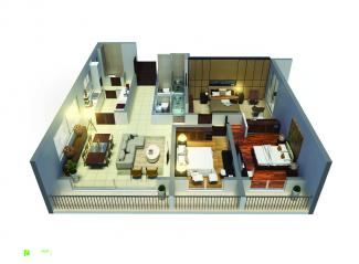 Type A 3D Render: 3 Bedrooms, 140.9 square metres / 1,516 square feet