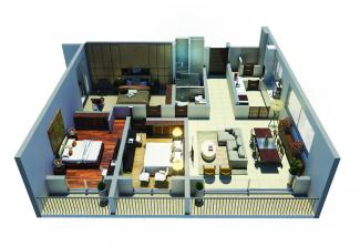 Type B 3D Render: 3 Bedrooms, 140.4 square metres / 1,511 square feet