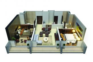 Type C 3D Render: 2 Bedrooms, 92.7 square metres / 1,046 square feet