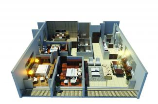 Type E 3D Render: 4 Bedrooms, 172.4 square metres / 1,855 square feet